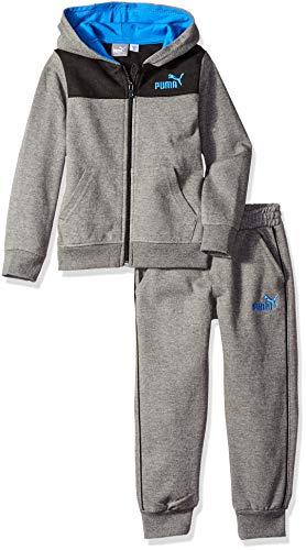 PUMA Boys' Little' Fleece Zip Up Hoodie Set, Charcoal Heather, 7