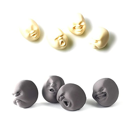 NiceMax Funny Novelty Gift Japanese Gadgets Vent Human Face Ball Anti Stress Scented Cao Toy Geek Gadget Vent Toy (1pc black +1pc white)