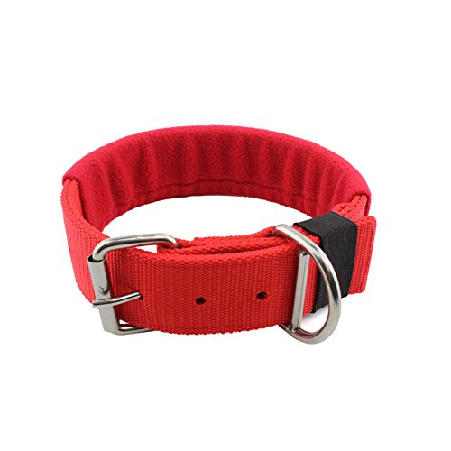 Yunlep Adjustable Heavy Duty Nylon Dog Collar with Stainless Steel Buckle for Medium Large Dog ,1.75