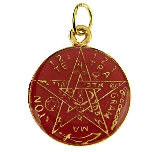 Bling Cartel Red Color Pentagram Pendant Tetragrammaton Double Sided Santa Muerte Medalla Pagan Wiccan Occult Gold Tone 30mm Coin Medal