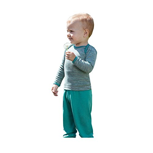 Organic merino wool silk baby PANTS longies pajama bottom eco (12-24 Months, Kingfisher)