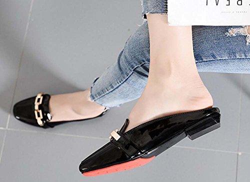 Medio de Sandalias Desgaste Baotou Verano de Mujer Estilo Coreano Nuevas Planas Sandalias Zapatos Black wgf0qpx