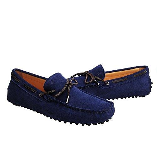 2 Mocasines Zapatos de Borlas Azul Primavera Cuero Moda de D7151 Gamuza Shenduo para Hombre Verano Hombre con awqTvqId