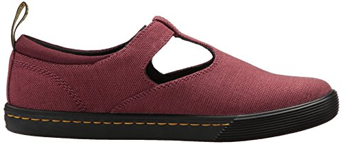 Dr. Martens Womens Winona Mary Jane Flat Cherry Red Textile Textile + Belle Canvas