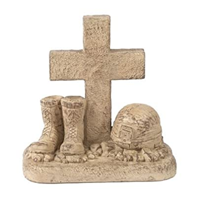 Solid Rock Stoneworks Soldiers Boots and Helmet at Cross Stone Memorial Statue 18in Tall Desert Sand Brown Color : Garden & Outdoor