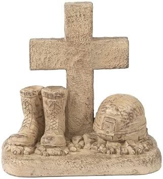 Solid Rock Stoneworks Soldiers Boots and Helmet at Cross Stone Memorial Statue 18in Tall Desert Sand Brown Color