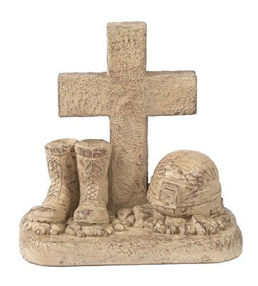 (Solid Rock Stoneworks Soldiers Boots and Helmet at Cross Stone Memorial Statue 18in Tall Desert Sand Brown Color )