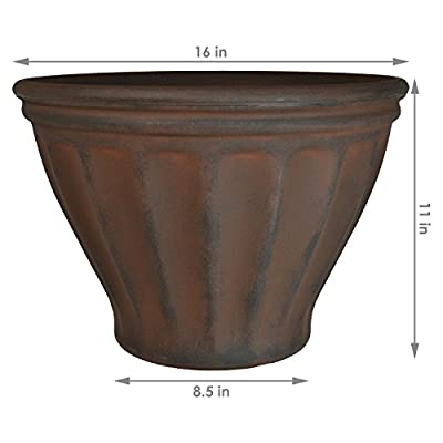 Sunnydaze Charlotte Flower Pot Planter, Outdoor/Indoor Extra-Durable Double-Walled Polyresin with UV-Resistant Rust Finish, Single, 16-Inch Diameter : Garden & Outdoor
