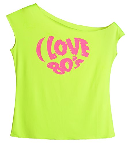 JustinCostume Women's 80's T Shirt 1980's Costume (Medium, Print - 80's Neon