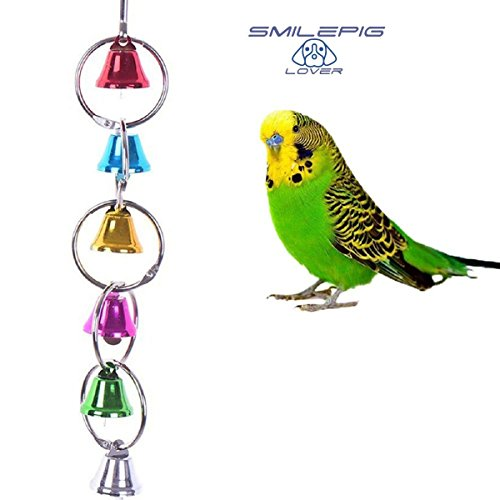 Smile Pig Lover Flexible Colorful Wooden Rainbow Bridge Ladder Cage Bird Hanging Toy Cage Rope Bungee Bird Swing Nest Toy Chewing Toy for Parrot,Swings,Ladders to Balance Exercise (3)