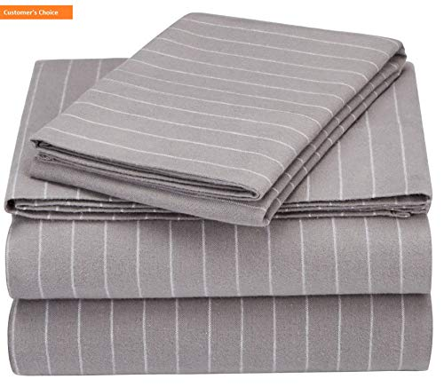 - Mikash New Soft Pinzon 160 Gram Pinstripe Flannel Sheet Set - Twin XL, Grey Pinstripe - PZ-PLFLAN-GP-TNXL | Style 84599390