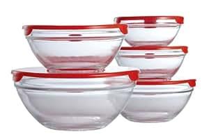 Premier Housewares - Cuencos de cristal (5 unidades), con tapa color rojo