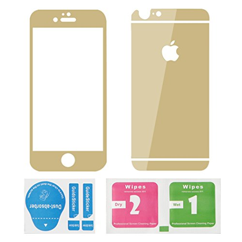 """Raphycool Mirror Effect iPhone 6S/6 Front and Back Tempered Glass Protector Set, 0.3mm Shatterproof HD Tempered Glass Screen Guard + Back Shield for 4.7"""" iPhone 6S / 6 (Mirror, Gold)"""