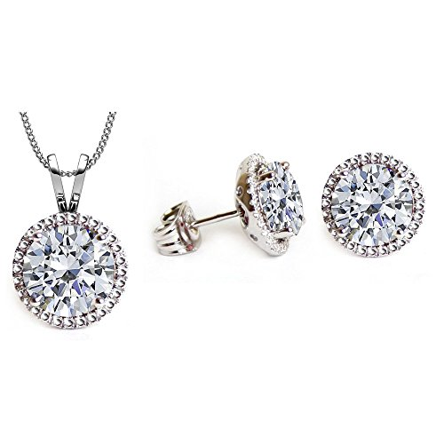 Swarovski Crystals April Birthstone Crystal Stud Pendant & Earrings Set (Birthstone Jewelry Sets For Women)