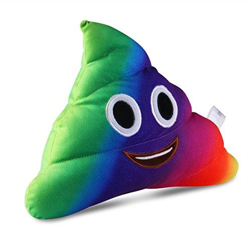 BESTOMZ Poop Plush Pillow Round Cushion Soft Toy, 35 x 30 x 10 cm (Smile poop Rainbow) -