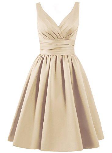 ELLAGOWNS Women's V-neck Short Bridesmaid Dresses Champagne US 14