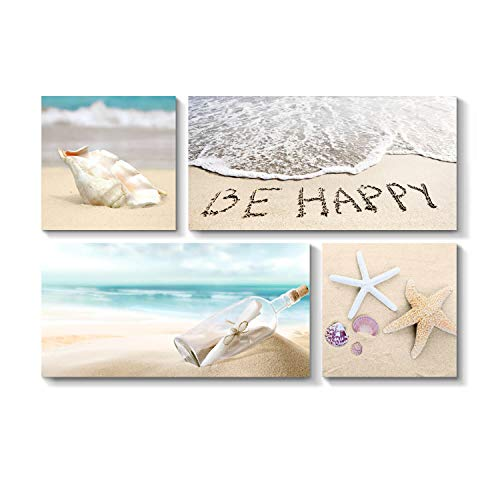 (Grander Group Sandy Shore Picture Coast Art - Starfish & Seashells on Beach Artwork Print for Wall Decor for Living Room Bedroom(16''x16''x2pcs+32''x16''x2pcs))