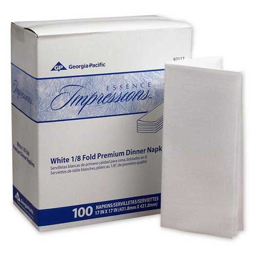 Essence Impressions 17x17 1/8-Fold Linen Replacement Dinner Napkins White -- 400 per case.