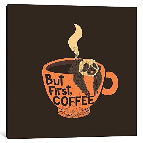 """iCanvas""""But First, Coffee, Square"""" by Tobias Fonseca Canvas Print 18"""" x 18"""" x 0.75"""" from iCanvasART"""