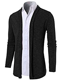 H2H Mens Fashion Slim Fit Shawl Collar Cardigan without Buttons