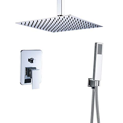 Rozin Chrome Finish Bath 2-way Diverter Shower Mixer Kit Ceiling Mounted 12-inch Rainfall Shower Head + Hand ()