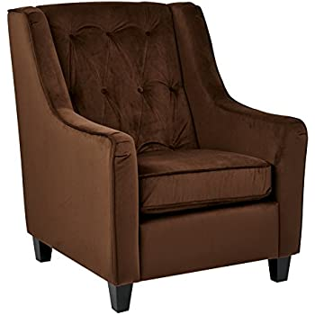 Amazoncom Ave Six Curves Tufted Back Armchair With Espresso Finish - Curves-button-back-chair-in-chocolate-brown-and-green