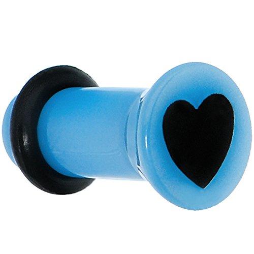 Body Candy 2 Gauge Blue Acrylic Black Heart Single Flare Ear Gauge Plug (1 Piece)