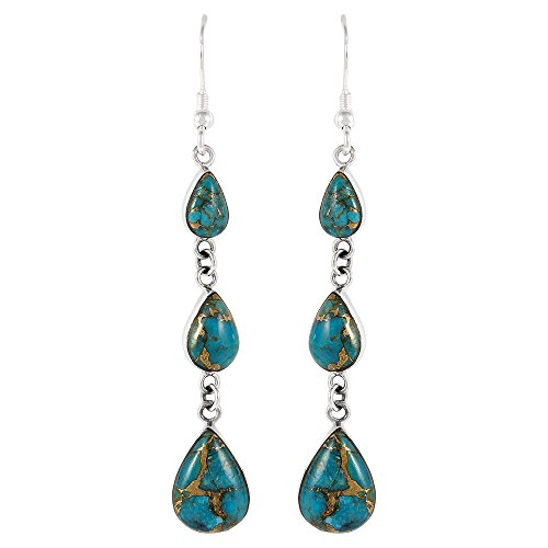 Turquoise Earrings 925 Sterling Silver Genuine Turquoise Jewelry (SELECT from different styles) - For Women Different Styles