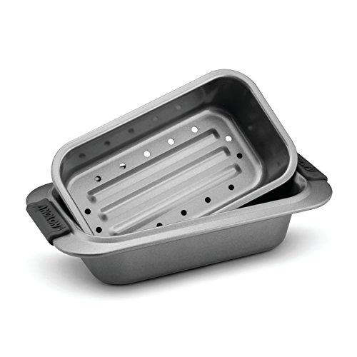Anolon Advanced Nonstick Bakeware 2-Piece Loaf Pan Set, Gray with Silicone Grips ()