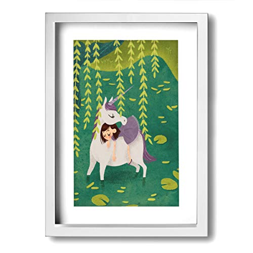 (Xinyi Online New Wall Art Painting Picture Unicorn for Home Decor Framed Painting for Office, Bar, Living Room, Bedroom Wall Decor 9.45x13(in))