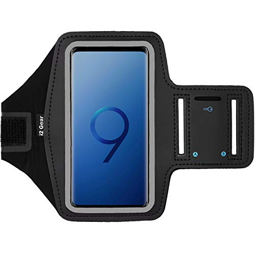 i2 Gear Running Exercise Armband Case for Samsung Galaxy S9, S7, Edge, Active and Google Pixel 2, 3 Phones with Adjustable Sport Band, Reflective Border and Key Holder (Black)