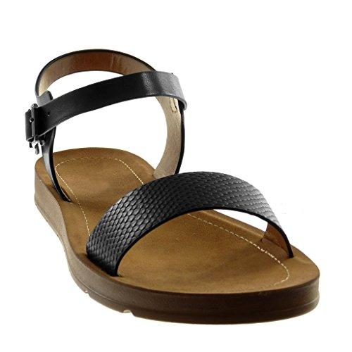 Talon Lanière Compensé Lanière Cheville cm Noir de Angkorly 2 Peau Femme Sandale Mode Chaussure Serpent xqgwPZYv