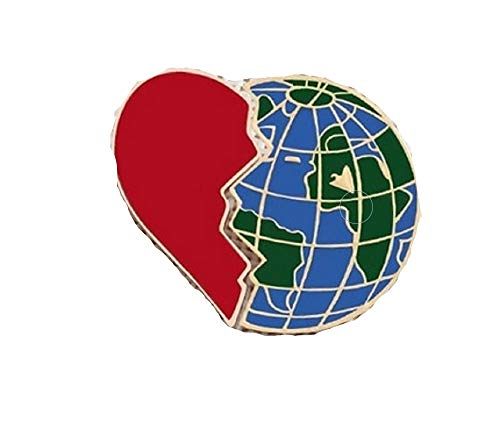 GORGEOUS I Love Geography WORLD GLOBE Brooch is Two Pins.Half is a RED Enamel HEART & the Other Half is a Blue Enamel Geography Globe.Perfect Gift for a Traveler, Flight Attendant or Geography Teacher