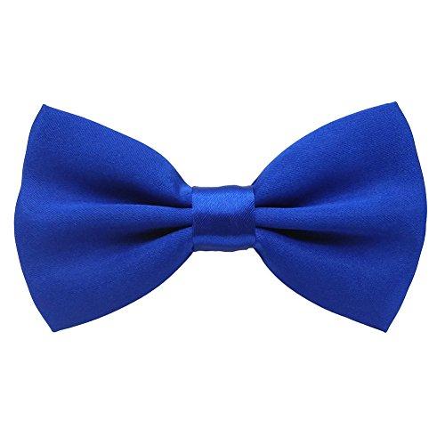 Mens Adjustable Neck Solid Bow Ties Pre Tied (Royal Blue)