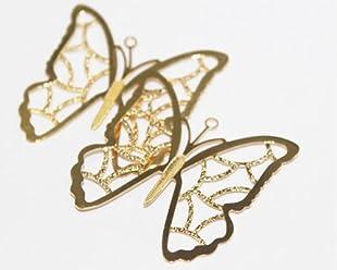Paquete De 3 Dijes Mariposas Filigrana, De Goldfilled 14/20, Para Trabajar En