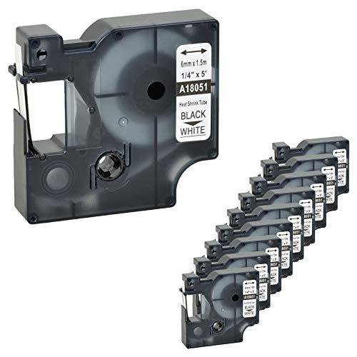 (Nineleaf 10 PK Compatible for DYMO 18051 Rhino Heat Shrink Tube Industry Label Tape 1/4