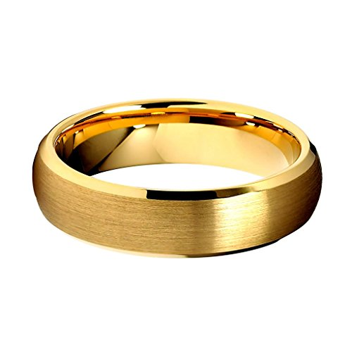 6mm Beveled 14K Yellow Gold Plated Tungsten Wedding Band - Size 8