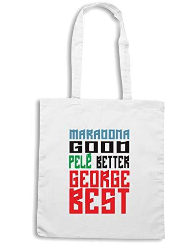 Speed Shirt Borsa Shopper Bianca WC0495 MARADONA GOOD PELE BETTER GEORGE BEST
