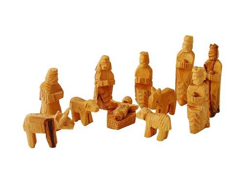 (Medium Olive Wood Nativity Set 12 pcs with 3-D Animals)