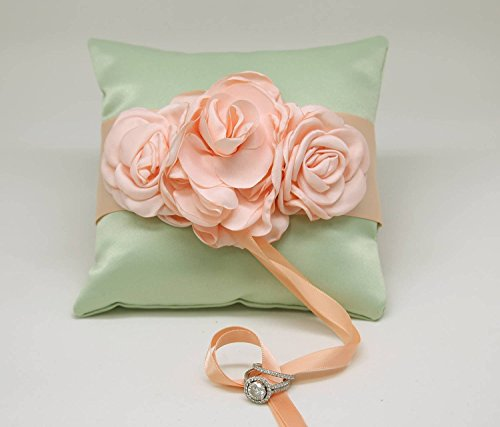 Wedding Dog Ring Pillow - Mint Ring Pillow floral Peach wedding Dog Collar, Summer Floral wedding, Pet Ring Bearer