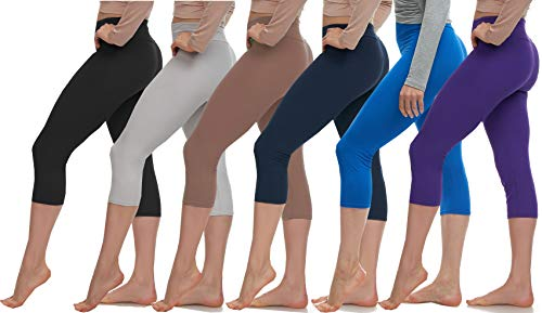 LMB Leggings for Women - High Waisted Womens Workout and Yoga Pants - Athletic, Seamless Girls Gym Legging - Soft Spandex Pant for Running, Jogging, Dance - 6 Pack - (Bl,L.G,Mo,Nav,R.B,Pur) - One Size