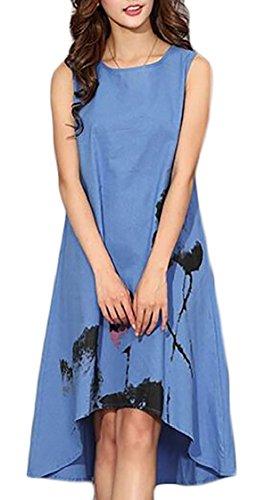 Jaycargogo Des Femmes De L'été Cou Décontracté Style Chinois Équipe De Peinture À L'encre Sans Manches Robe De Coupe Ample Bleu