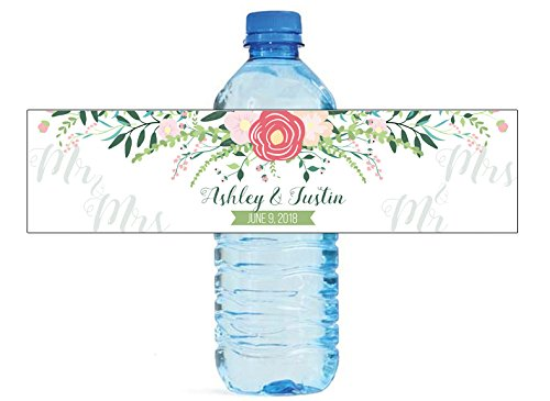 DesignThatSign Mr & Mrs Floral Wedding Water Bottle Labels Easy to use Great for Weddings