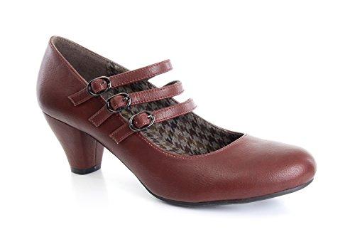 Andres Machado.AM5000.Zapatos Mary Jane en Soft.Tallas Pequeñas de la 32 a la 35. Tallas Grandes de la 42 a la 45. Para Mujer. Rojo