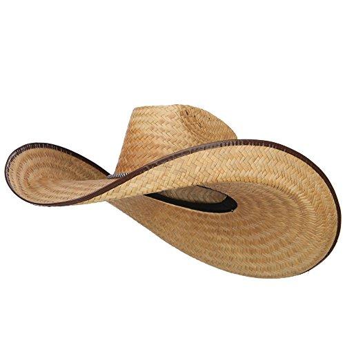 Oversized Western 7 Inch Brim Hat - Dark Natural -