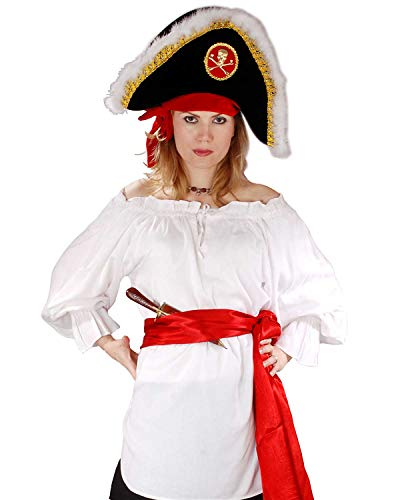 Pirate Wench Renaissance Medieval Costume Blouse Top (X-Large, White) -
