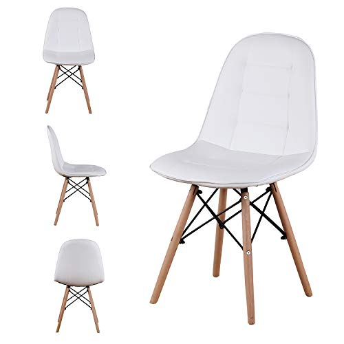 Set of 4 Mid Century Style Retro Dining Chairs Modern Durable PU Cushion