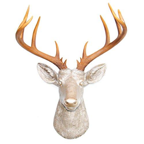 Near & Deer 14 Pt. Faux Taxidermy Deer Head, Cruelty-Free Animal Decoration Alternative, Rustic Chic Cozy Café, Caramel Latte Matte Base