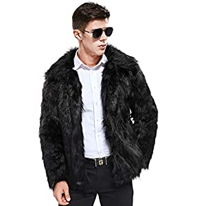 Zicac Faux Fur Coat Winter Warm Fur Jacket Luxury Long Sleeve Overcoat Parka Outerwear for Women Men