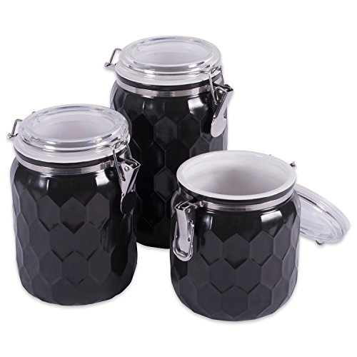 (DII 3-Piece Modern Honeycomb Half Matte Glaze Ceramic Kitchen Canister Jar With With Airtight Clamp Lid For Food Storage, Serve Coffee, Sugar, Tea, Spices and More and More, Black)